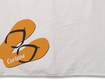 Beach Towel // Personalized Flip Flops // 30inx60in