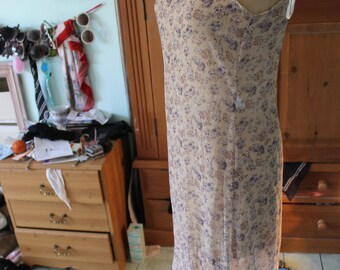 Translucent over dress beige/floral print polyester dress REF 178