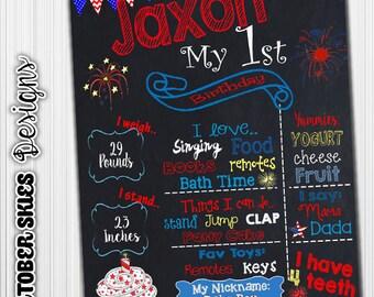4th of July Birthday Chalkboard, Patriotic, 1st Birthday, Chalkboard, Printable, Chalkboard Poster, Birthday Sign, Digital File