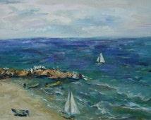 sea. Oil on canvas original. Blue, yellow, white, green, purple.
