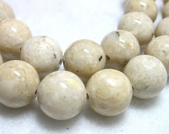 10mm Mottled Sand Riverstone Rounds 38 Beads 1mm Hole Gemstone Fossil Bead Natural 10mm Stone Rounds.  Light Brown Stone Mottled Jasper