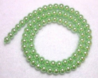 Mint Green Pearls 4mm Glass Pearls Green Round Celestial Glass Pearls Shimmery Pearl Rounds Light Green 4mm Pearl Rounds 100 Pearl Rounds
