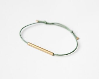Brass Tube Bracelet - Minimalistic Bracelet - brass/copper tube - black/green/raspberry - simple minimal design - friendship