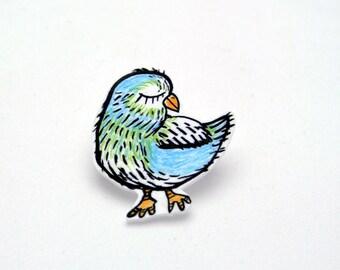Bird Shrink Plastic brooch