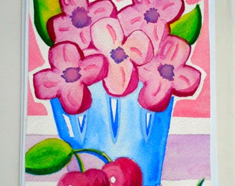 hand painted greeting card - pink flowers