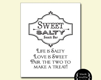 "Vintage Frame Sweet and Salty Snack Bar sign - Life is Salty Love Is Sweet Pair the two to make a treat 8""x10"" digital download"