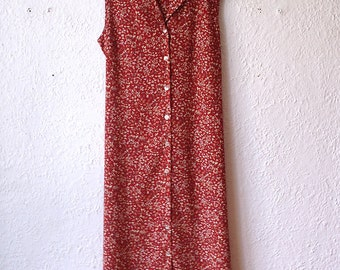Vintage Robe fleurie buttons Orange to yellow beige red woman