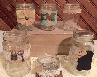 Lace and burlap mason jars.
