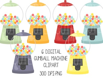 Retro Gumball Machine Vintage Digital Clipart Printable PNG Instant Download Scrapbooking Sticker Invitation Cards Commercial use