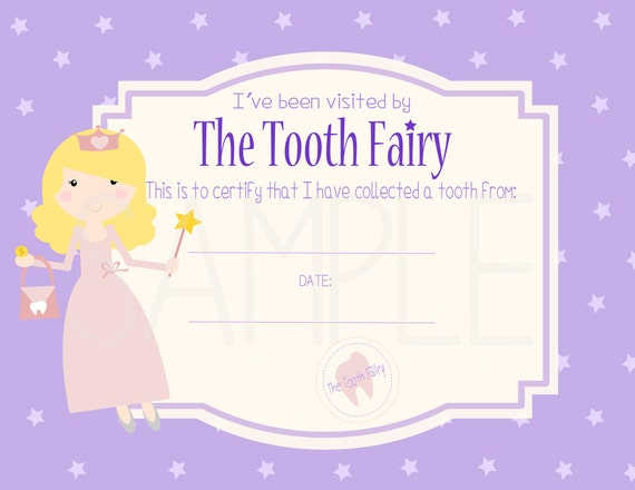 SALE Tooth Fairy Certificate Digital Printable Instant