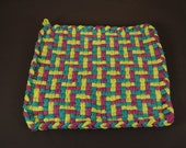Woven Wonder I Large Colorful Handmade Woven Cotton Potholder C540