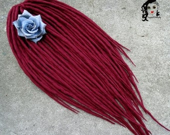 "Wool Dreadlocks Dreads Full Set DE "" Cherry Orchard "" Double Ended"