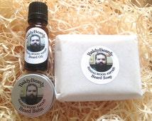 Sandalwood Amyris - Beard oil, balm and soap triple combo pack. Beard care, maintenance, grooming package, Sandal wood beard kit for men