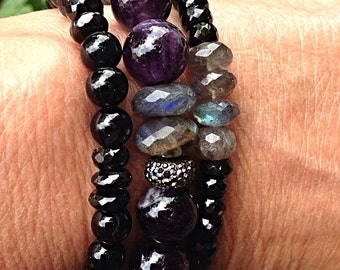 Amethyst, Labradorite, Black Pearl, Aqua Chalcedony Stretch Bracelet! Black Spinel and Labradorite. Best Quality, Flashes of Blue/Violet.