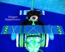 Unique Diaper  Cake - Unique Baby Shower Gift or Centerpiece - Airplane Diaper Cake - Baby Boy, Baby Girl, Neutral Baby Gift