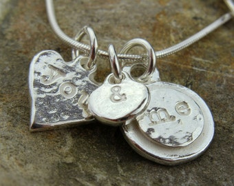 Solid Silver 'You & Me' Charm Necklace