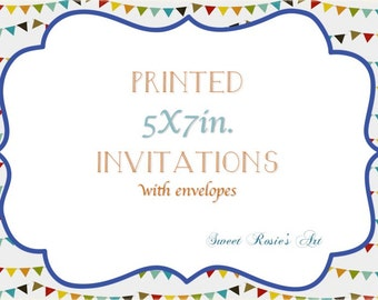 Invitation Printing Service// Printed 5x7 Invitations// envelopes