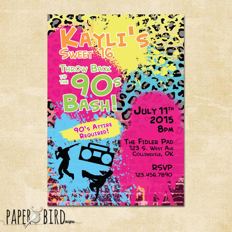 90s Throwback Birthday Invitation Custom Invite Printable