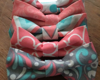 Sale! Coral turquouse and gray baby bow ties