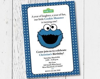 Printable Cookie Monster Birthday Party Invitation. Digital Invitation