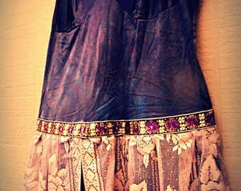 Size L Dress, fairy dress, gypsy, burlesque, drama, circus, tutu ,layers frills, upcycled ,beaded, bridal wedding, hipster, Egyptian Revival