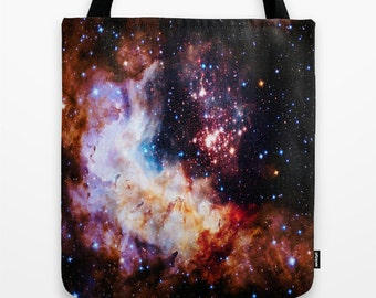 Tote Bag, Colorful Tote Bag, 25th Anniversay Hubble Telescope, Celestial Fireworks, Canvas Tote, Large Tote, Market Tote, Book Bag