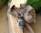Laborodite pendant, pendant necklace, aquamarine beaded necklace, gemstone necklace, handmade, one of a kind, unique