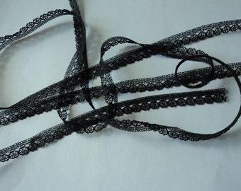 Vintage French black lace trim 10 metres (X)
