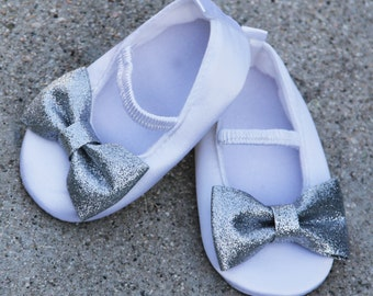 White Baby Shoes With Silver Sparkle Bow Satin Shoes Ballet Flat Crib Shoes Birthday Flower Girl Shoes
