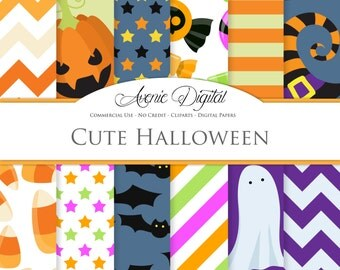 Cute Halloween Digital Paper. Scrapbook Backgrounds, green, purple and orange patterns Commercial Use. Pumpkin, bats, candy, ghosts, stripes