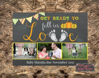 Photo Card Pregnancy Announcement - Get Ready To Fall In Love - Printable Chalkboard Card / Social Media Digital File