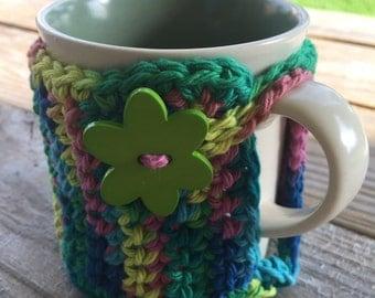 Handmade Crochet Coffee Mug Cozy, Mug Cozy in Tropical Colors, Coffee Cozy, Coffee Accessories, Tea Cozy, Hot Drink Cozy,  Coffee Sleeve