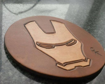 Handmade Leather Ironman Coaster, Marvel