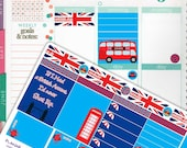 London England Theme Planner Sticker Half Kit // Erin Condren Planner Stickers