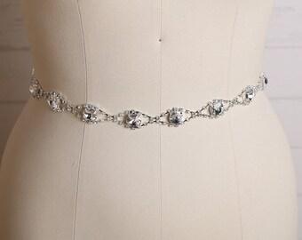 Wedding Belt, Bridal Sash, Bridal Belt, Swarovski Crystal Bridal Belts, Wedding Dress Belt/ B214