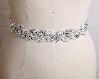 Bridal Sash Belt, Wedding Sash Belt, Wedding Dress Sash, Bridal Belt, Made of Rhinestone, Pearl, Crystal, Bridesmaid Belt / B205