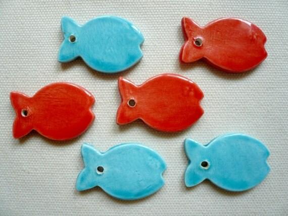 Piccoli pesci ceramica pesci azzurri pesci rossi for Pesci rossi piccoli