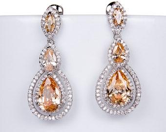 RoseGold Wedding Earrings Zirconia Earrings Wedding Jewelry Bridesmaid Earrings Bridesmaid Accessories Dangling Teardrop Earrings stl163