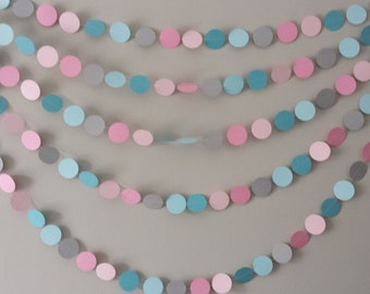 Paper Garland, Birthday Party,  Baby shower, Decor, Gender Reveal, Garland