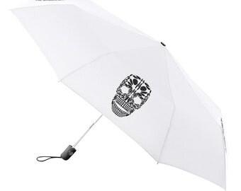Umbrella Compact Folding Auto Open Close Skull White - Under NY Sky