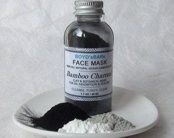 Activated Bamboo Charcoal Face Mask - All Natural Face Mask, Detoxing Face Mask, Turmeric Mask, Charcoal Mask, Clay Mask, Calendula Mask