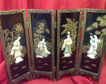 Jade and Wood Japanese Screen Small. ** on sale**