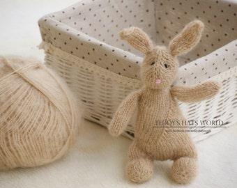 Stuffed Bunny Photo Prop Knit Brown Bunny Rabbit Toy Newborn Baby Photo Prop Floppy Ear Bunny Shabby Chick Kids Hand Knitted Bunny