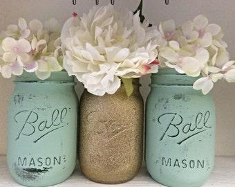 Glitter Mason Jar Set, Wedding Centerpieces, Shower Centerpieces, Gold and Mint Jars, Glitter Jars, Flower Vases, Center Pieces, Party Decor