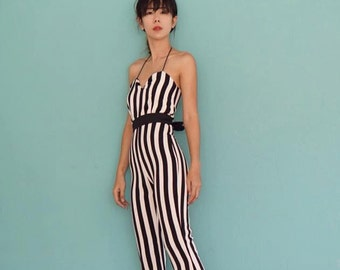 Women's Jumpsuit white and black down side high waisted flared bell bottom  - vintage 70s fashion