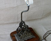 Vintage Office Desk Lamp With Brass Letter Holder