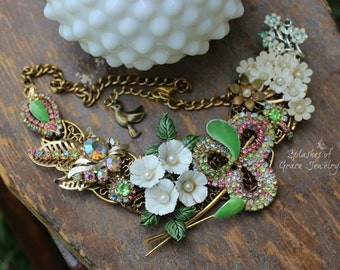 OOAK, Vintage Repurposed, Upcycled, Assemblage Bib Necklace with Pastel Sparkle