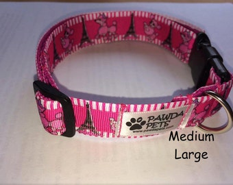 Pink Paris dog collar, leash or set