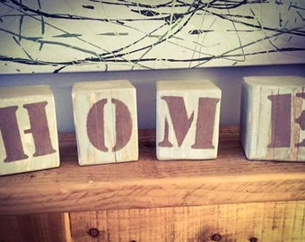 Reclaimed Solid Wood Letter Blocks