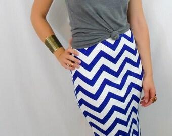 Chevron Print Pencil Skirt Blue and White Skirt Stretch Pull On Knit Pencil Skirt High Waist Pencil Skirt High Waisted